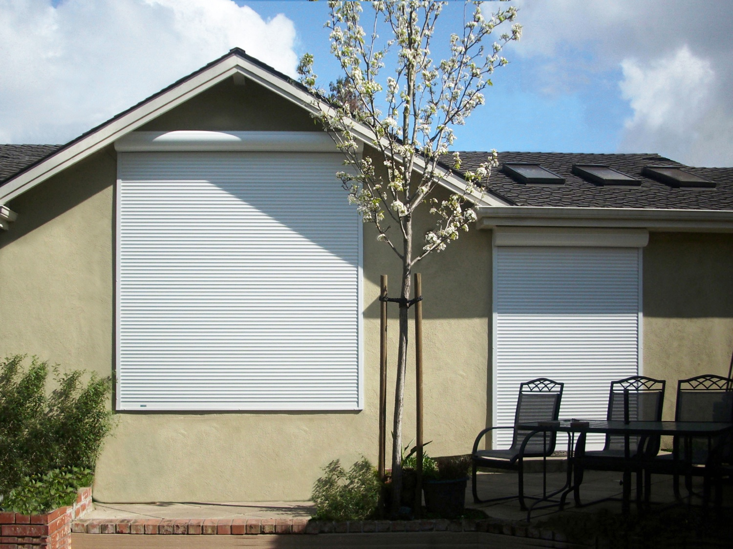 Motorized Exterior Rolling Shutters Rolled Up Motorized Exterior Rolling  Shutters Rolled Down
