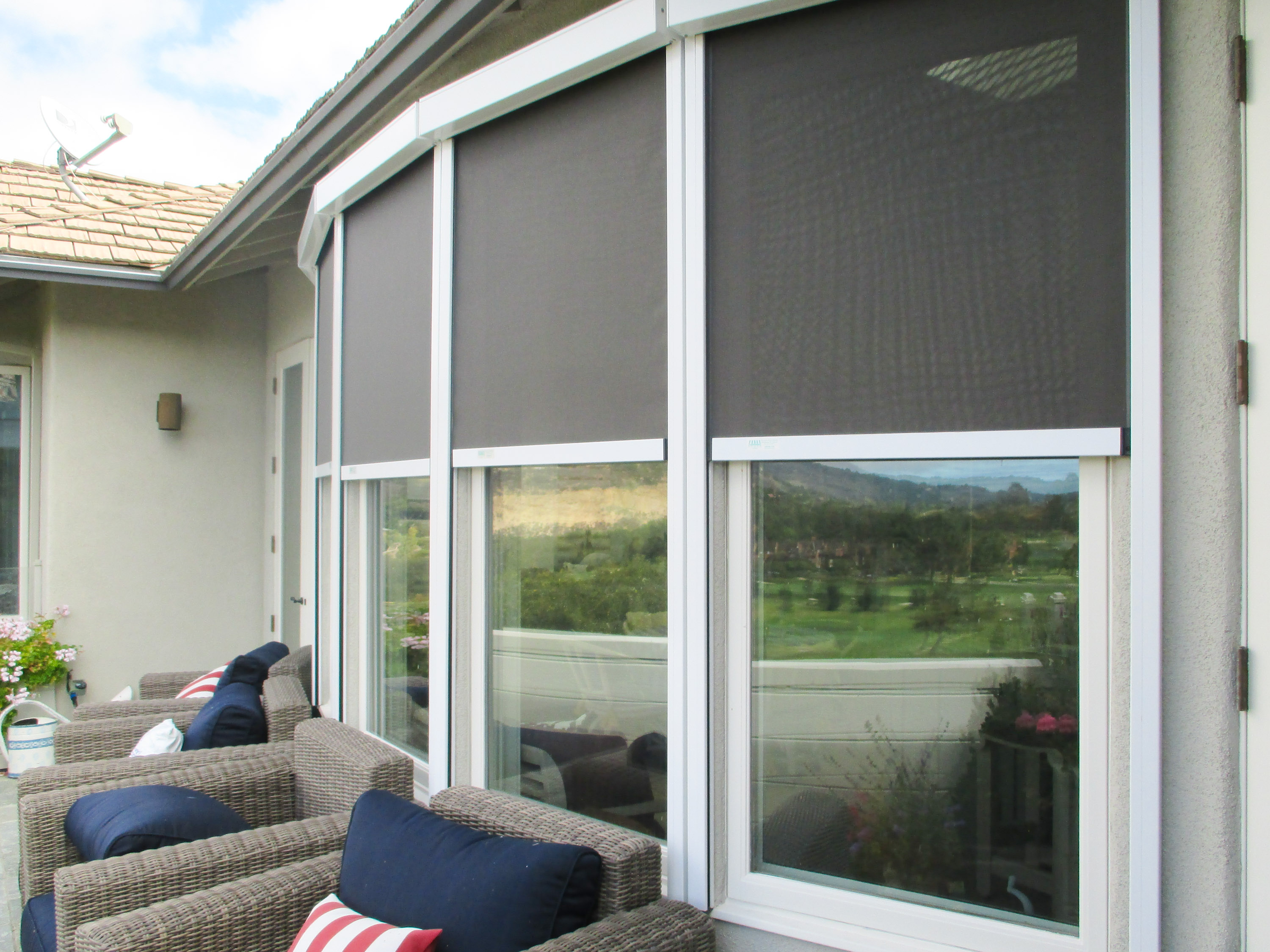 Exterior sun shades for windows - Motorized Solar Screens Rolled Away Motorized Solar Screens Partial