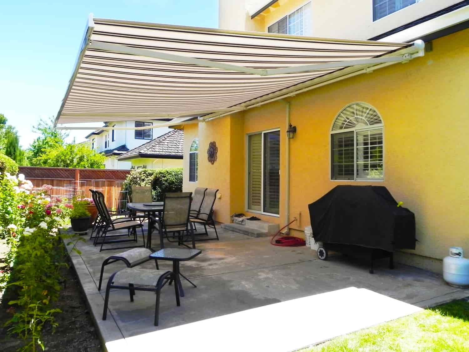 Open Retractable Awning For Nice Weather