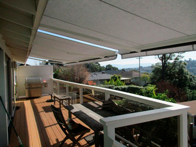 View from the balcony of the retractable awning on the San Carlos home