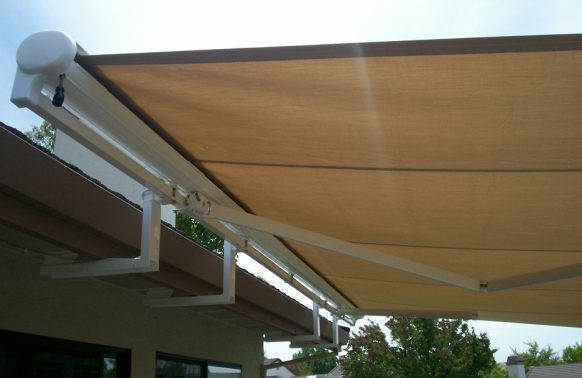 awning mounted on gutters