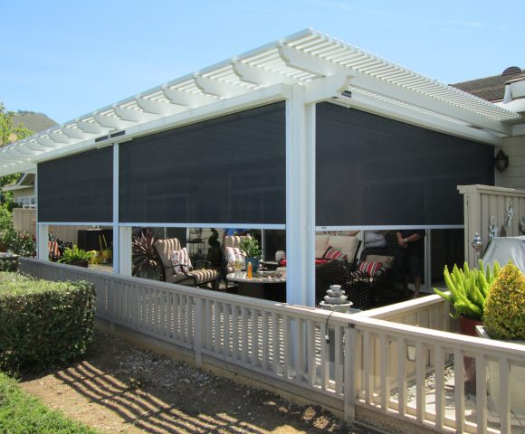backyard solar screens pergola