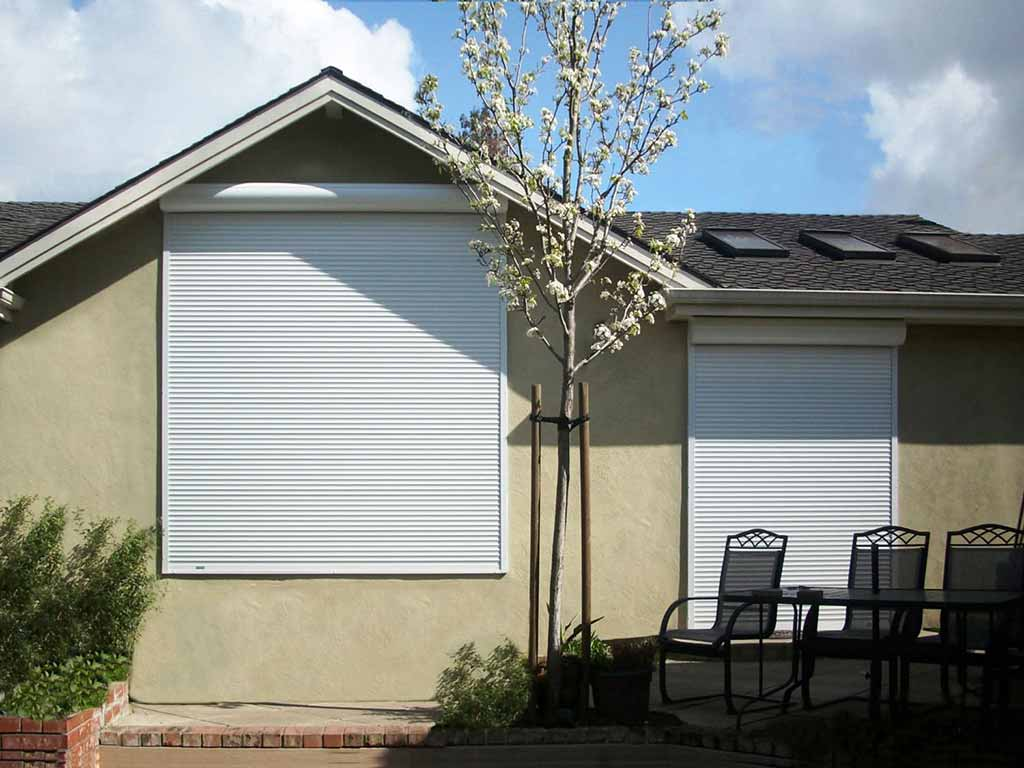 motorized exterior rolling shutters