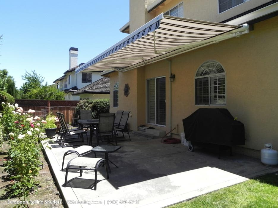 Motorized Retractable Awning - Custom Made by ERS - mid - opened position