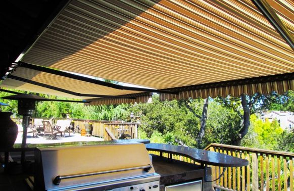 rainbow deck awning over bbq