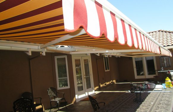 red white awning valance