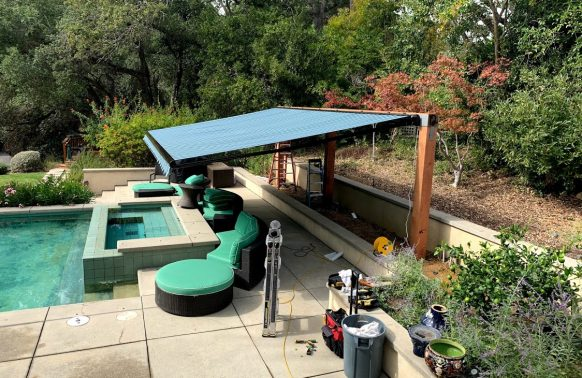 Retractable Awnings installation Chill Pool Area