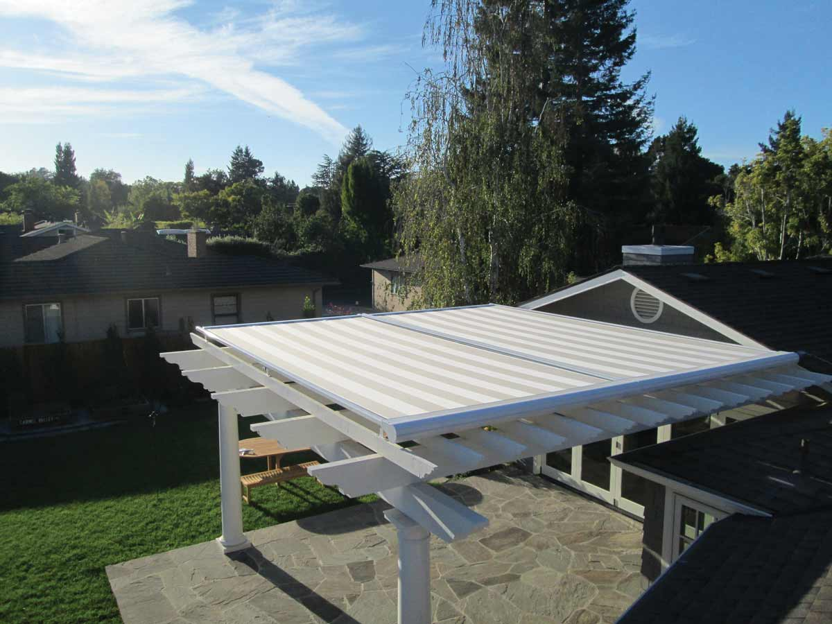 backyard retractable pergola awning cover