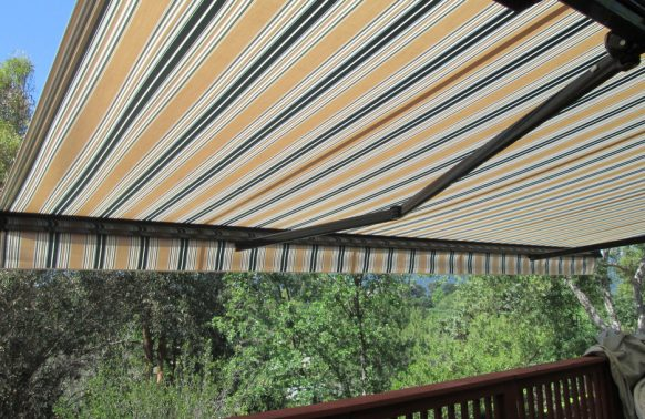 yellow striped awning